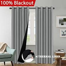 Luxury Grey Curtains 100 Blackout 2 Panels Solid Grey Curtains Faux Silk