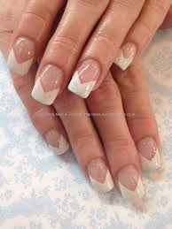 white tips with acrylic overlays and silver and crystal freehand
