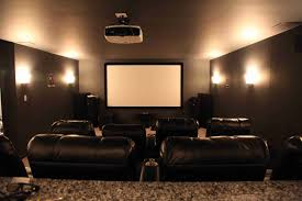 black leather sofa plus large screen and lamps on the gray wall of