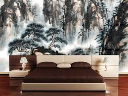 bedroom with awesome wall decorating behind modern floor japan