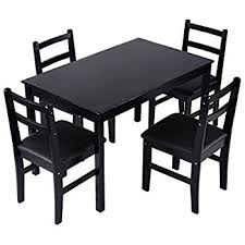 Black Wooden Dining Table And Chairs Amazon Com Giantex 5 Pcs Pine Wood Dining Set Table And 4