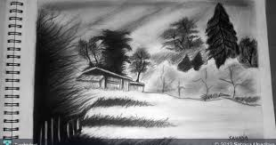 charcoal landscape sketching by sahana upadhya at touchtalent