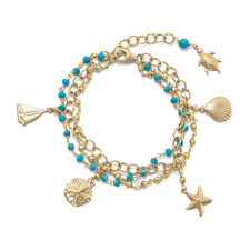 gold tone bracelet images 3 strand gold tone bracelet with nautical charms and reconstituted jpg