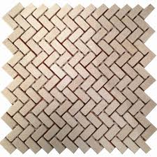 stone mosaic tile backsplash herringbone cream white marble tile