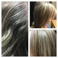 doing low lights on gray hair base color for gray coverage with highlights and golden lowlights