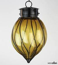 Mexican Pendant Lights Blown Clear Glass Wrought Iron Mexican Pendant Light Hanging
