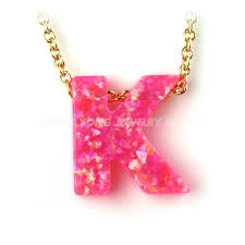 pink opal necklace images High quality pink opal jewelry necklace letter k opal pendant jpg