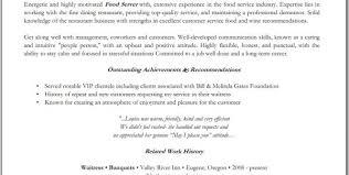 fine dining waiter resume fine dining server resume sample resume