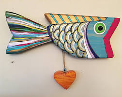 colorful wooden fish etsy