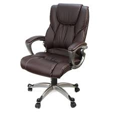 Desk Chair Back Brown Pu Leather High Back Office Chair Executive Task Ergonomic