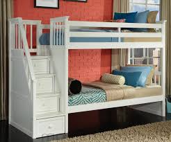 School House  White Staircase Bunk Bed Bed Frames NE Kids - Ne kids bunk beds