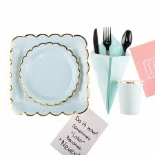 riscawin makaron blue paper plates birthday wedding decoration