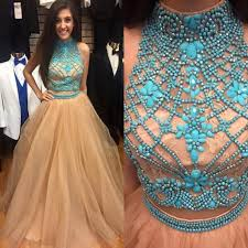 illusion neck prom dresses with blue gemstones high neck crop top
