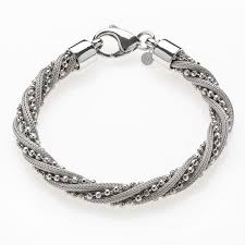 fine silver plated bracelet images Silver bracelet with twisted calza and bead chain rhodium plated jpg