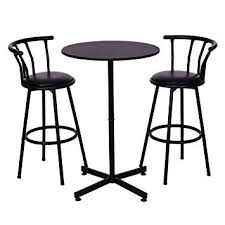 bar stool table set of 2 amazon com costway 3 piece bar table set with 2 stools bistro pub