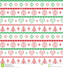 red and green on the white background nordic christmas pattern