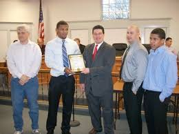 Pictured from left to right are School Board President Martin Gleason, Campolattano, Pilato, Bound Brook High School Wrestling Coach Kyle Franey and ... - large_pix-0416bbwrestling
