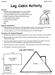 abraham lincoln log cabin activity lessons for little ones by