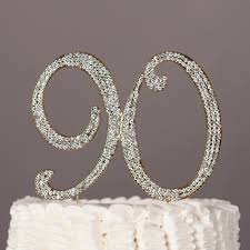 bling cake toppers 90 gold cake topper rhinestone metal number decoration