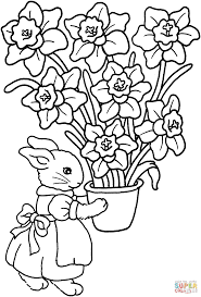 bunny with iris vase coloring page free printable coloring pages