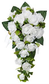 silk wedding bouquets white silk cascade silk bridal wedding bouquet