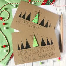 merry christmas modern personalised u0027merry christmas u0027 christmas tree card by little