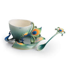 Peacock Mug Hand Crafted Porcelain Tea Cup Set With Peacock Motif 193 Bucks