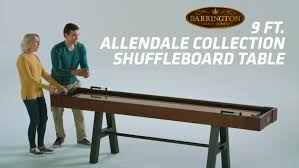 barrington 9 solid wood shuffleboard table barrington billiards company allendale 9 shuffleboard table