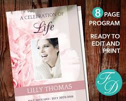 Funeral Program Designs 51 Best Pink Funeral Program Templates Images On Pinterest