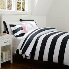 cottage stripe duvet cover sham black pbteen