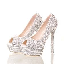 wedding shoes peep toe handmade high heel stilettos bridal shoes silver diamond