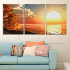 Canvas Painting For Home Decoration by 3 Cascade Day Sunset Scene Canvas Painting Decorative Wall Picture