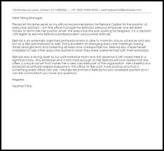 executive assistant recommendation letter sample livecareer