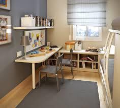 wondrous corner white home office design with single white desk