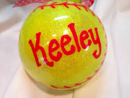 softball ornament painted personalized