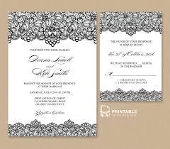 black lace vintage wedding invitation and rsvp wedding