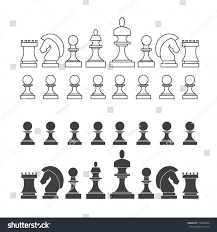 Chess Piece Designs by Flat Thin Line Chess Pieces Set Stock Illustration 510689554