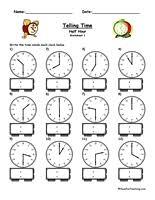 telling time half hour telling time worksheet to the half hour teaching