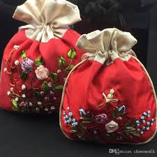 small favor bags handmade ribbon embroidery patchwork small satin bags drawstring