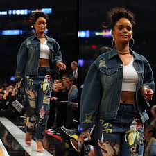 rihanna hoop earrings rihanna in ashish sequinned denim jacket and