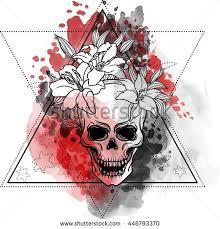 trash skull blood splatter flowers stock vector 446793370
