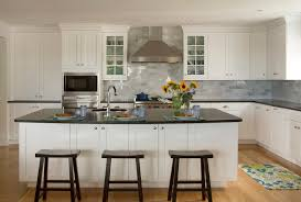 white shaker cabinets kitchen traditional with backsplash bin