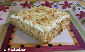 tasty banana cake with banana cream icing and walnuts low carb
