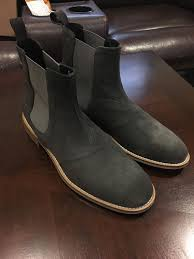 handmade mens dark gray chelsea boots men gray suede ankle boot