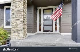 Porch Flag Column Porch Luxurious House American Flag Stock Photo 511822249