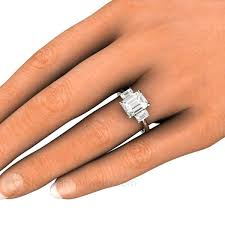 3 engagement ring 3 moissanite ring emerald cut forever one engagement