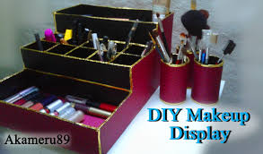 diy makeup display storage close to free with recycled materials