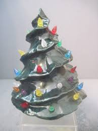 vintage green ceramic christmas tree christmas lights decoration