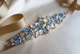 cornflower blue opal blue belt blue sash belt something blue blue bridal belt gold