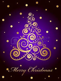 Red Gold And Purple Christmas Tree - vector gold ornate christmas tree on red background royalty free